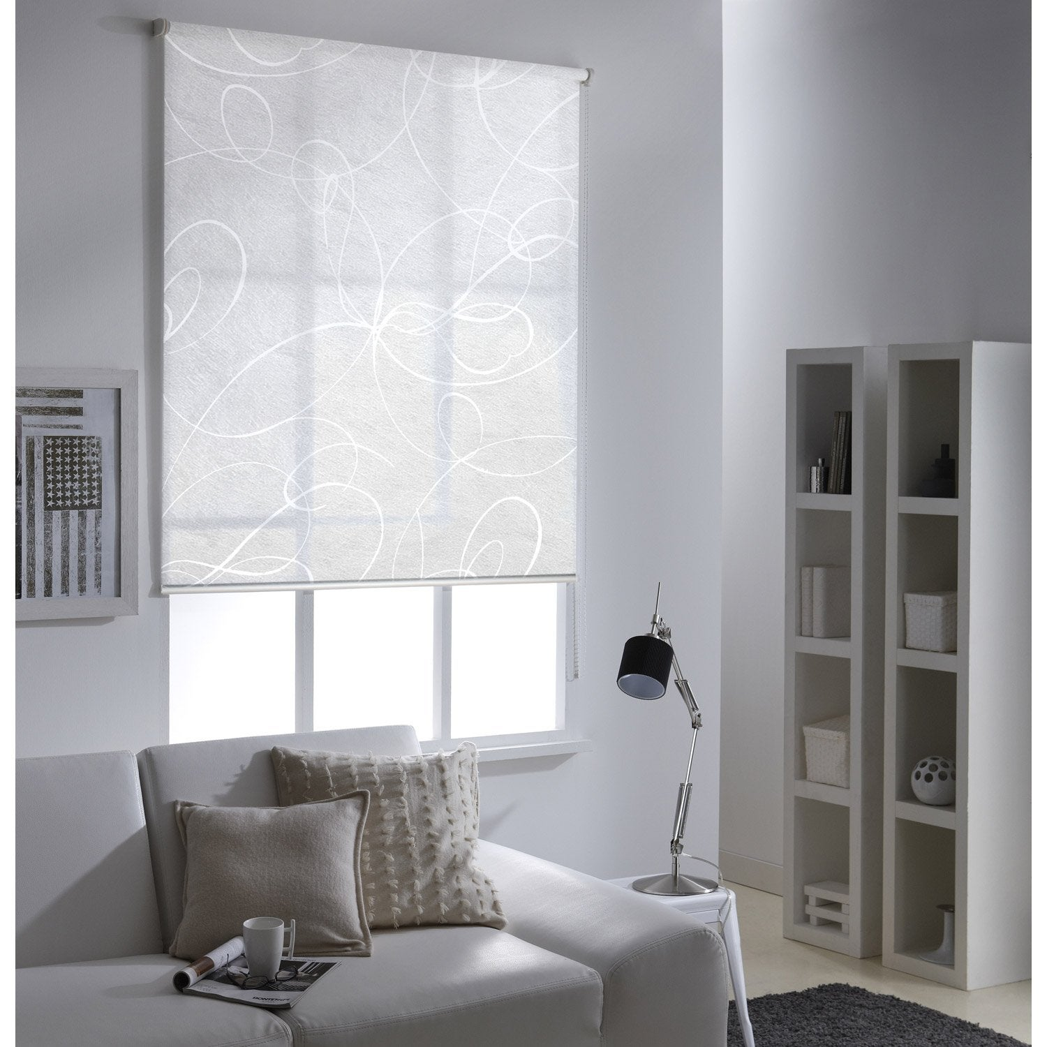 store enrouleur tamisant frost imprim blanc 155x190 cm. Black Bedroom Furniture Sets. Home Design Ideas