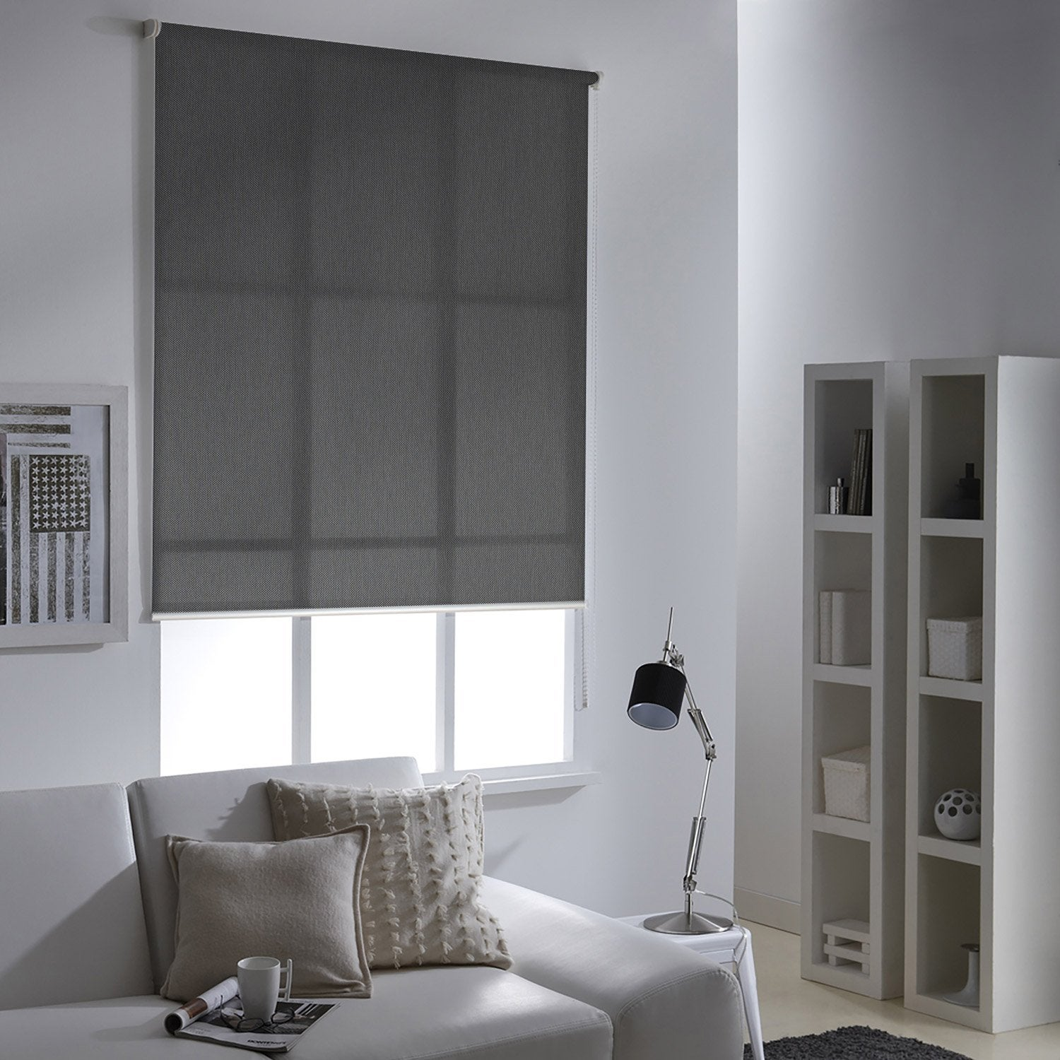 store enrouleur tamisant screen gris 90 94 x 190 cm leroy merlin. Black Bedroom Furniture Sets. Home Design Ideas