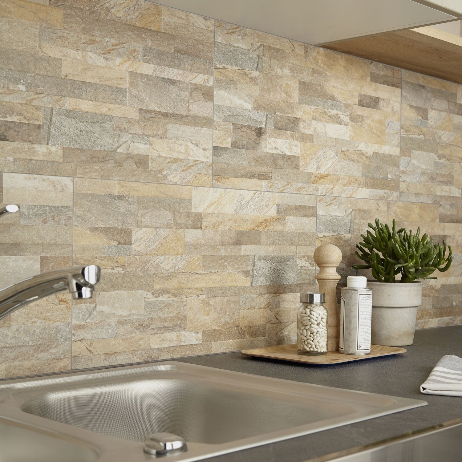 Carrelage mur ocre muretto x cm leroy merlin - Smart tiles chez leroy merlin ...