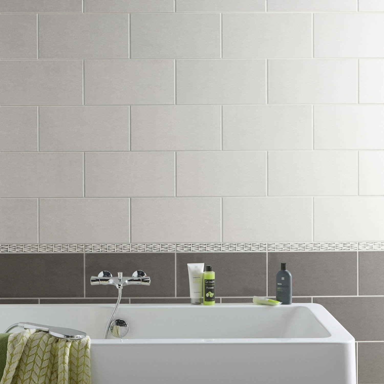 Fa ence mur gris trend x cm leroy merlin - Faience cuisine grise ...