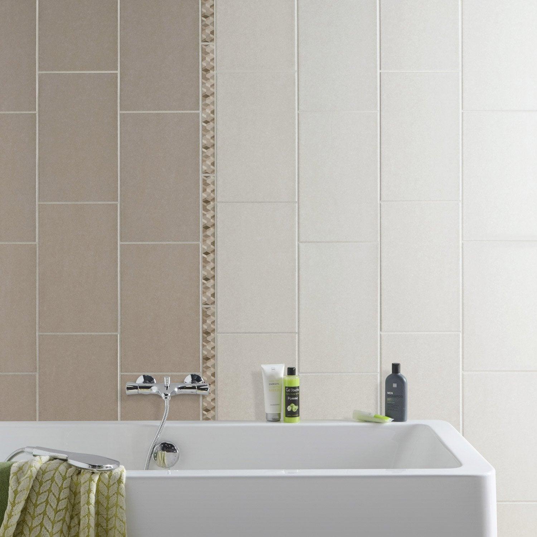 Fa ence mur beige trend x cm leroy merlin for Faience salle de bain beige