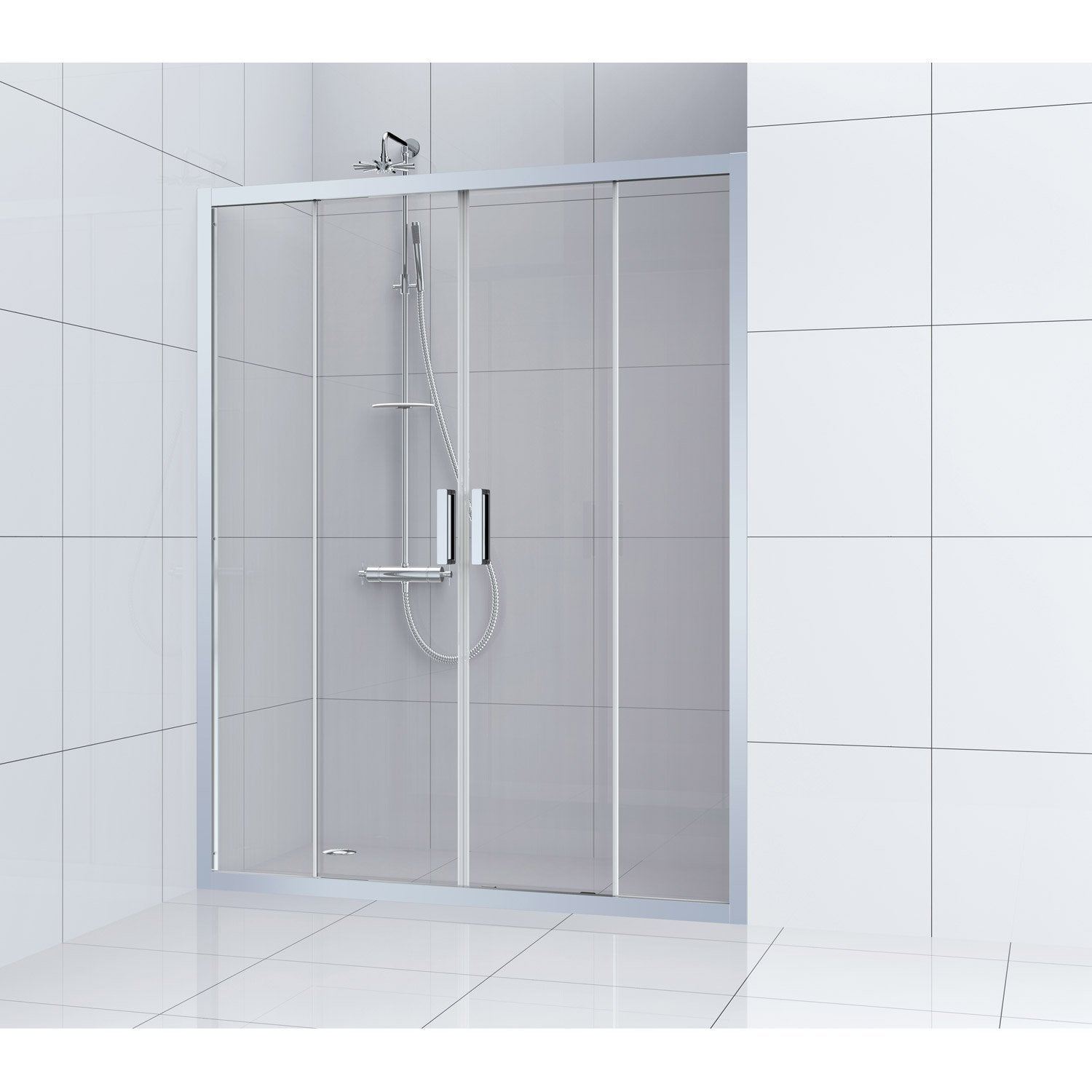 porte de douche coulissante 160 cm transparent charm leroy merlin. Black Bedroom Furniture Sets. Home Design Ideas