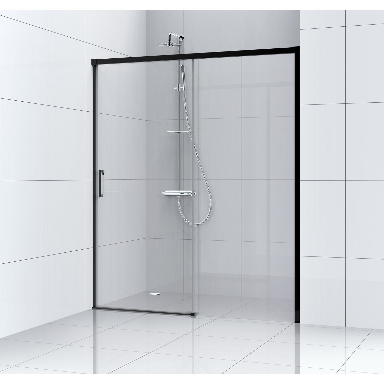Porte de douche coulissante l 100 cm verre transparent for Porte en verre coulissante leroy merlin