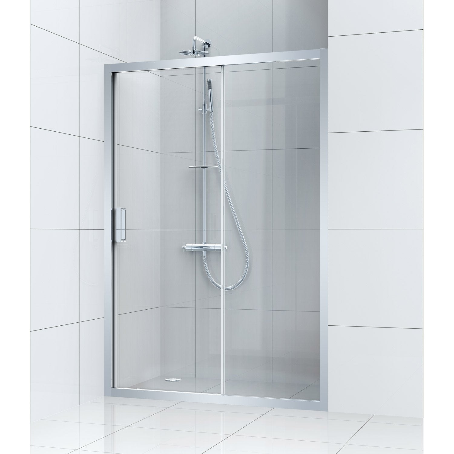 Porte de douche coulissante 140 cm transparent charm for Porte coulissante 140 cm