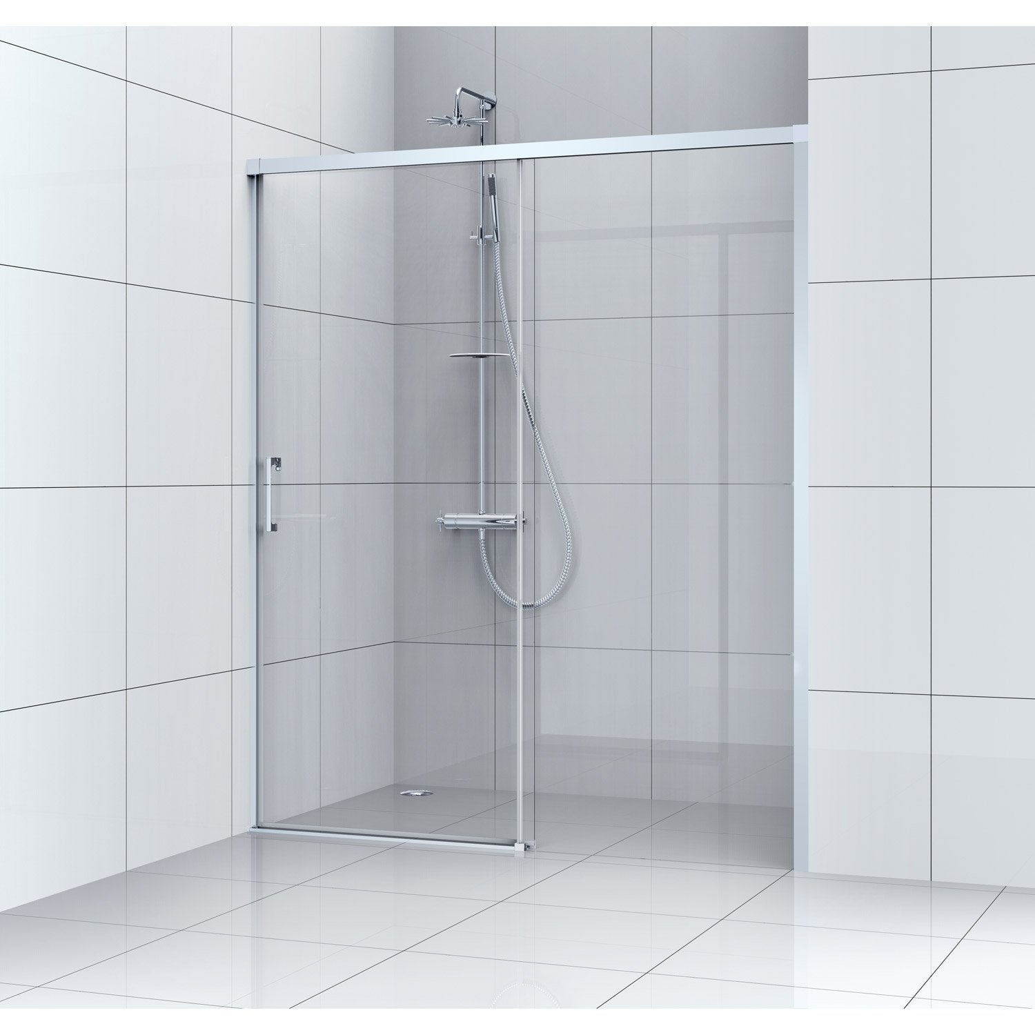 Porte de douche coulissante 100 cm transparent remix - Porte battante leroy merlin ...