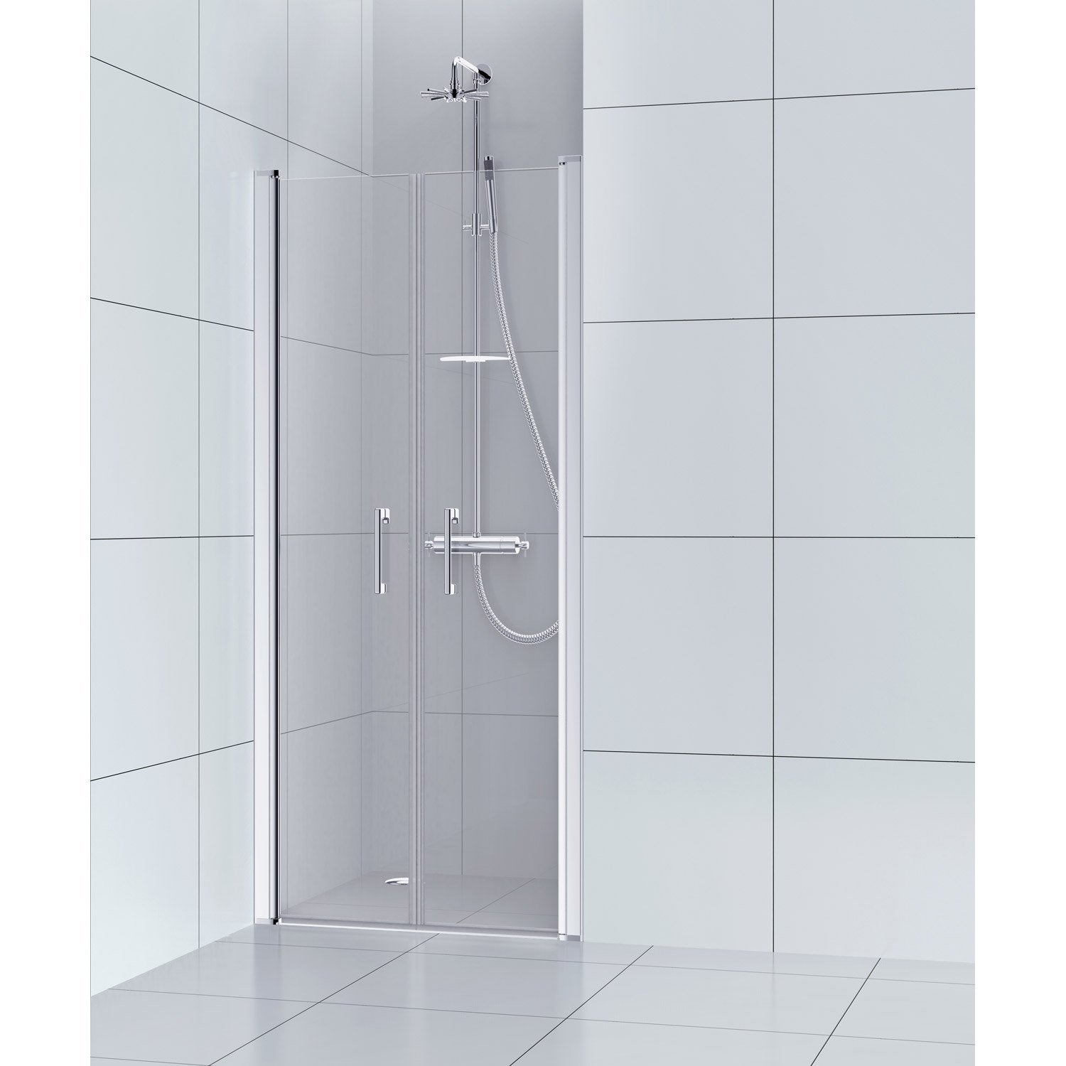 Porte de douche battante 80 cm transparent remix leroy for Porte de douche sans cadre