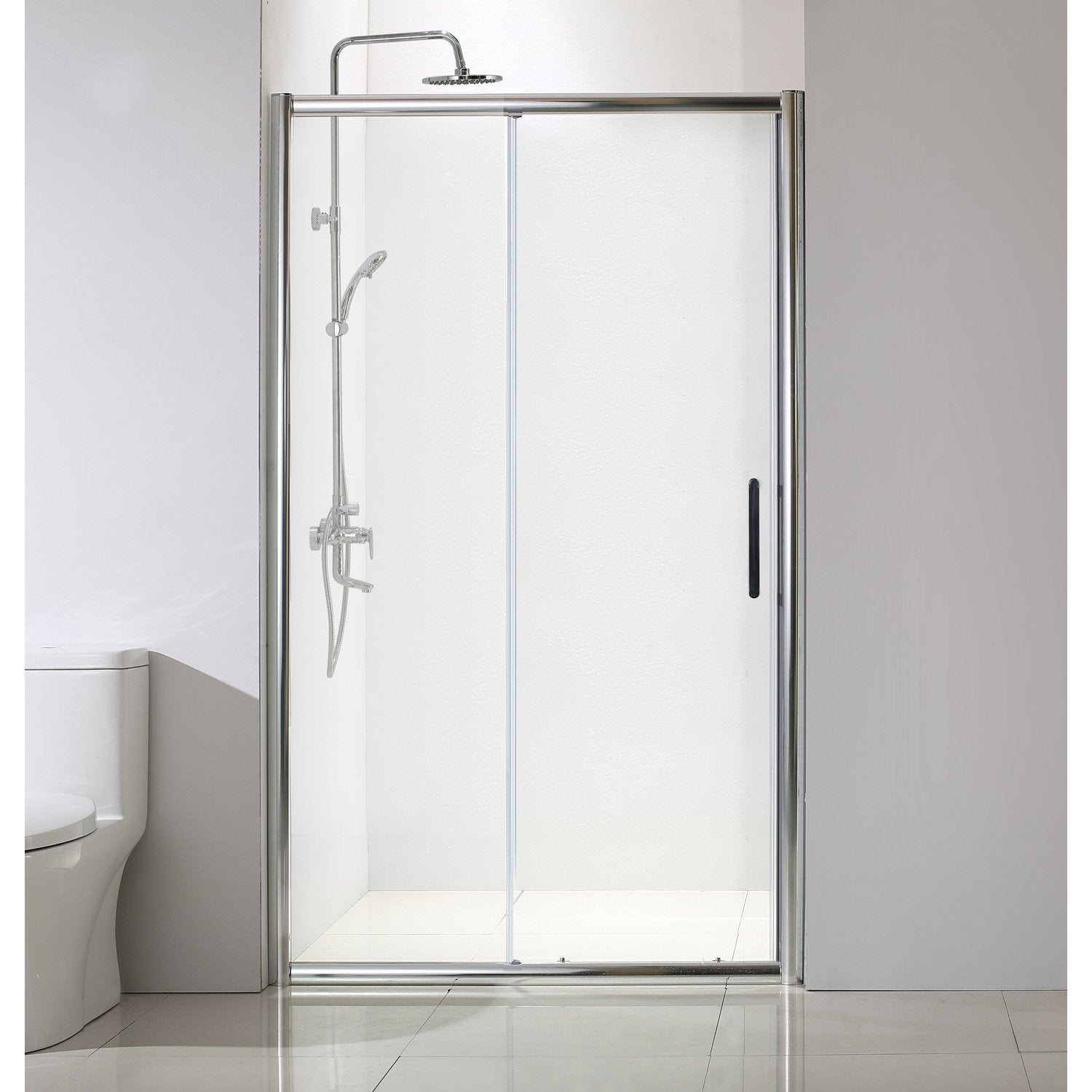 Porte de douche coulissante 120 cm transparent quad for Porte coulissante 120 cm