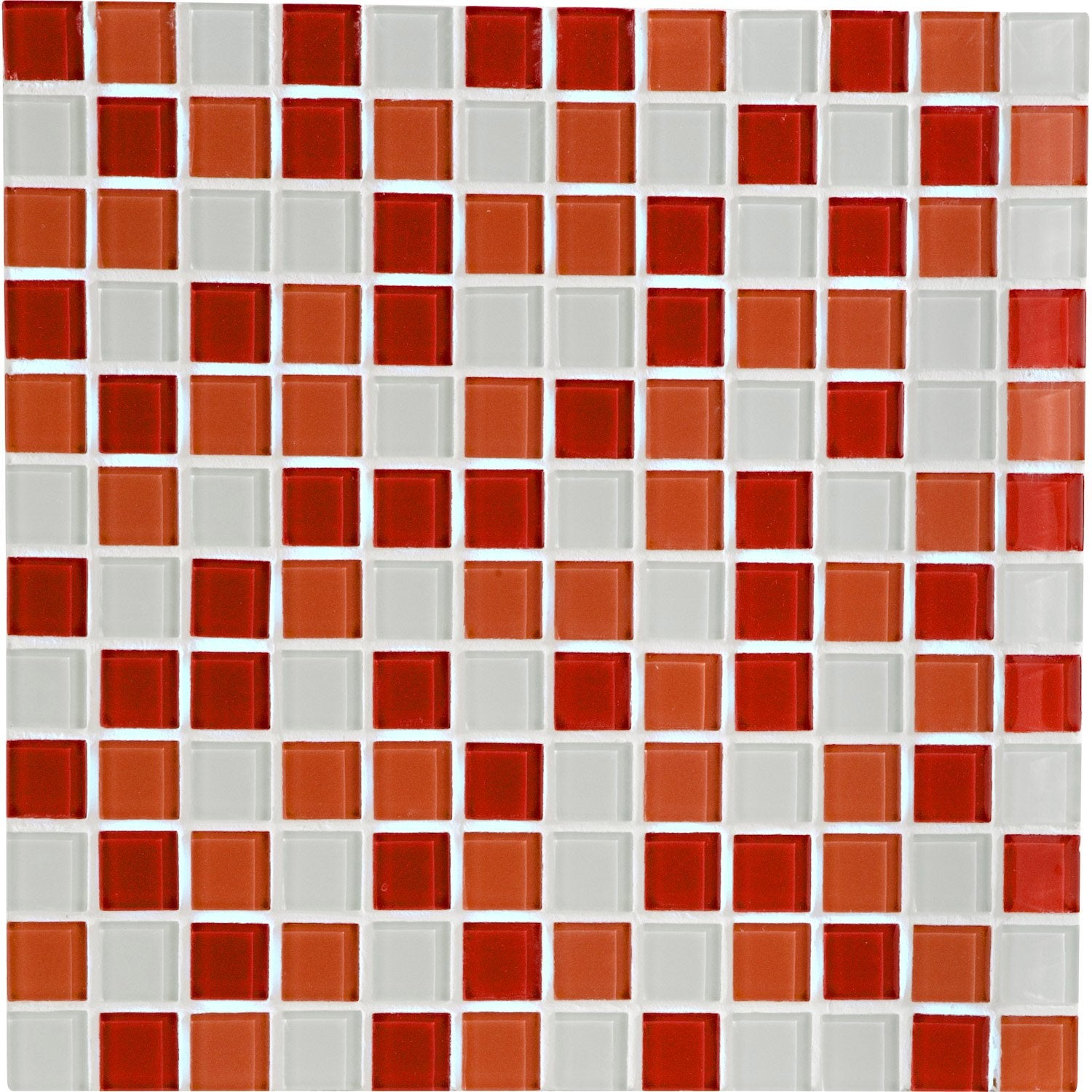 Mosa que mur shaker mix rouge leroy merlin for Carrelage en mosaique