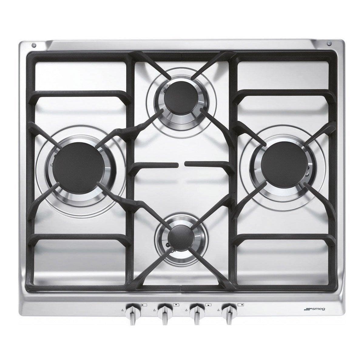 Plaque de cuisson gaz 4 foyers inox smeg s60ghs leroy - Cuit vapeur inox pour gaz ...