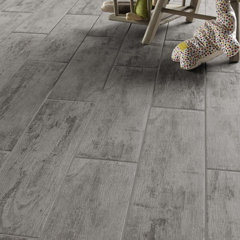 Carrelage sol et mur gris effet bois kaori x cm leroy merlin - Carrelage gris mur taupe ...