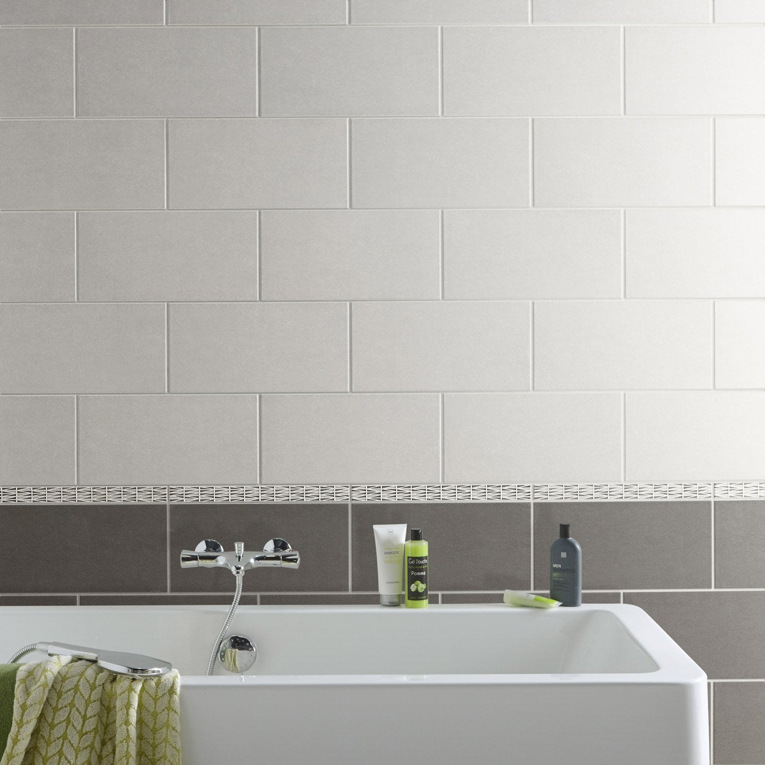 Fa ence mur anthracite trend x cm leroy merlin for Faience mur
