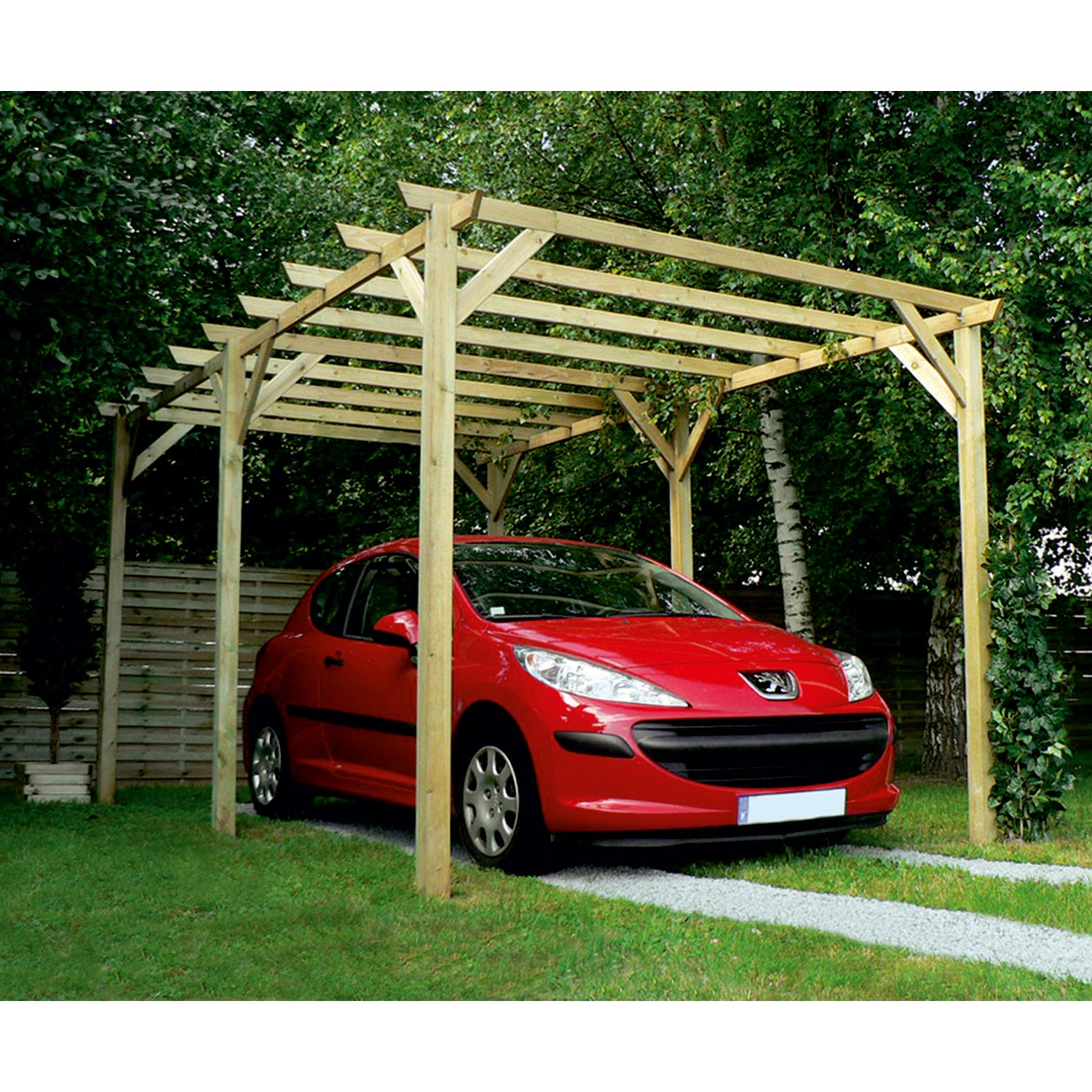 Carport bois maranello 1 voiture 15 m leroy merlin for Carport 1
