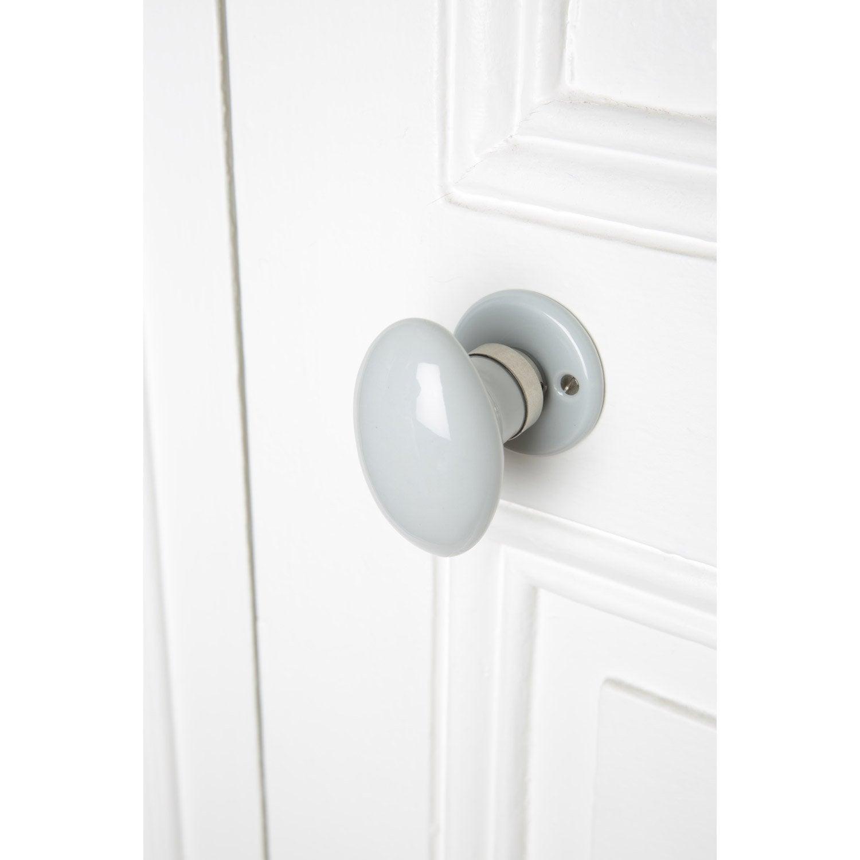 bouton de porte uni porcelaine de limoges nickel 233 mat leroy merlin
