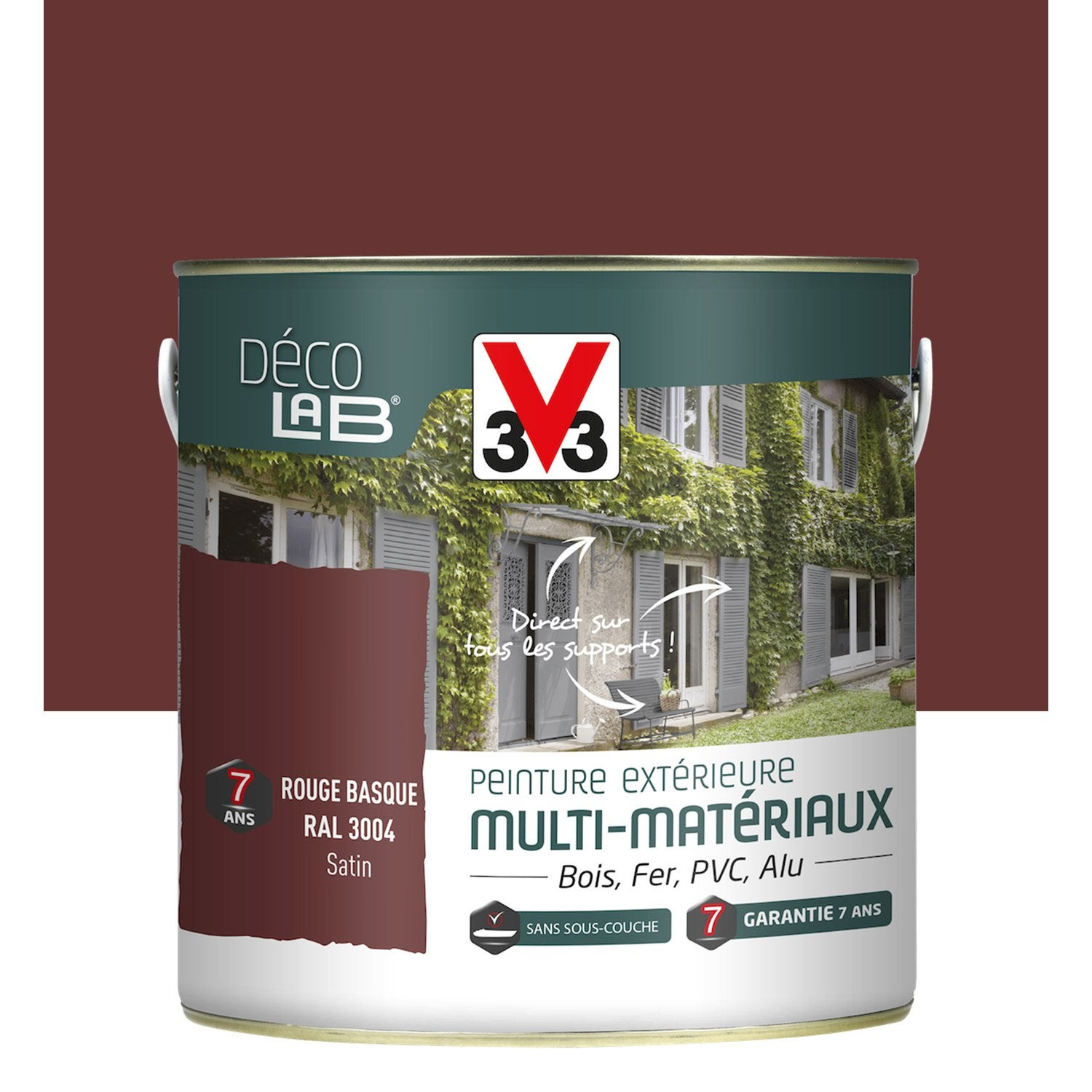 Peinture multimat riau ext rieur v33 rouge basque 2 l - Maison volet rouge basque ...