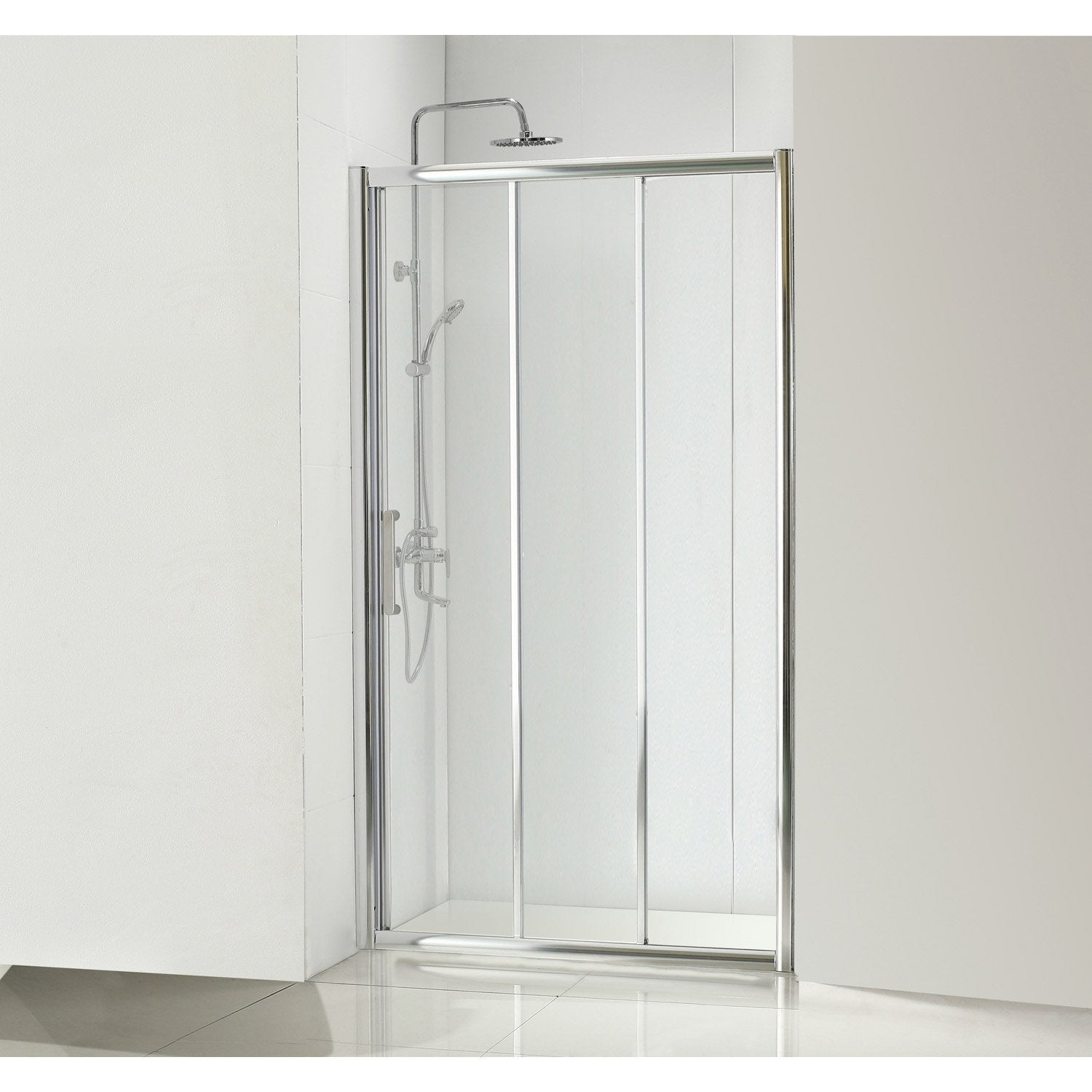 Porte de douche coulissante 90 cm transparent quad for Douche chez leroy merlin