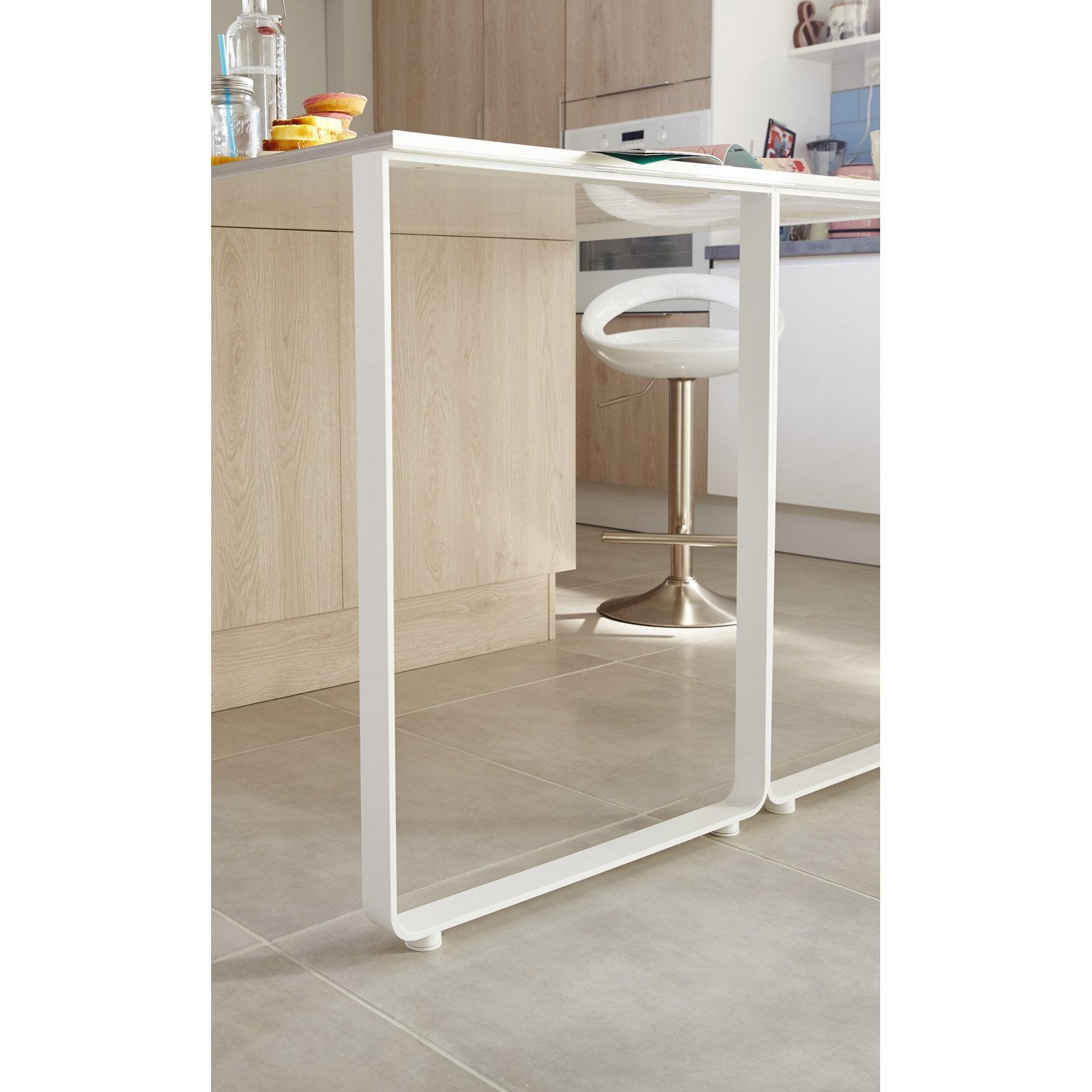 Pied blanc x cm leroy merlin for Table de cuisine pliante leroy merlin