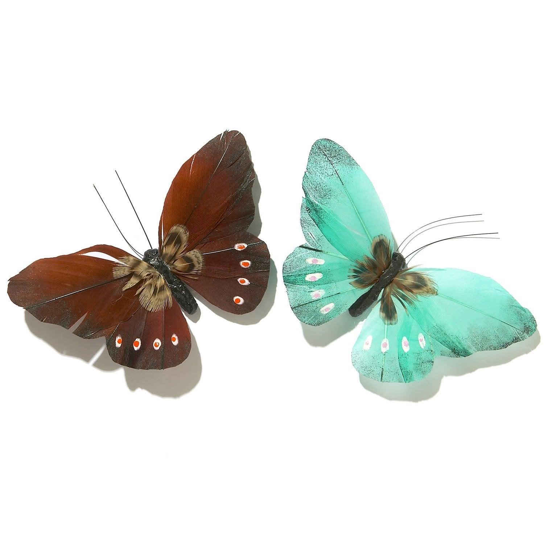 2 papillons aimant s plumettes vert et turquoise leroy merlin - Leroy merlin mantes ...