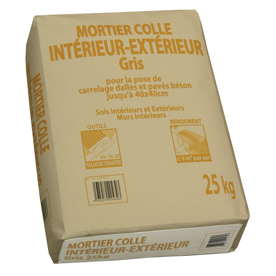 Colle pour carrelage int rieur ext rieur gris prb 25kg for Colle ciment exterieur