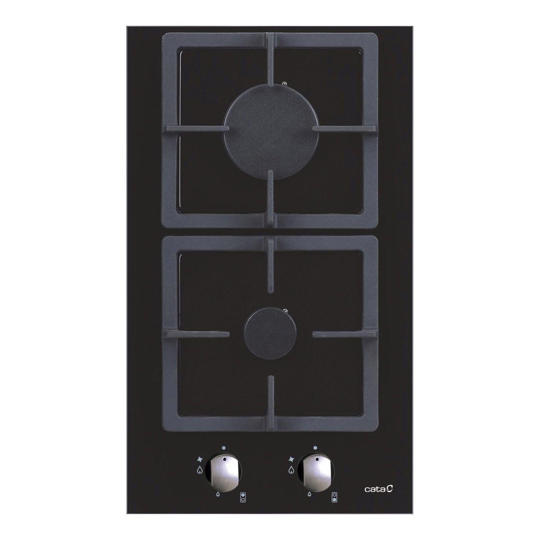 Plaque de cuisson gaz 2 foyers noir cata apelson for Taille plaque de cuisson