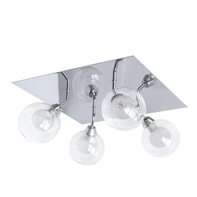 Plafonnier 4 spots merline halog ne 4 x 33 w g9 blanc for Plafonnier salle de bain leroy merlin
