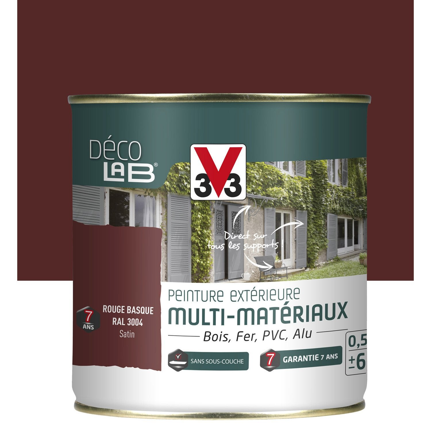 Peinture multimat riau ext rieur v33 rouge basque 0 5 l leroy merlin for Peinture teinte leroy merlin