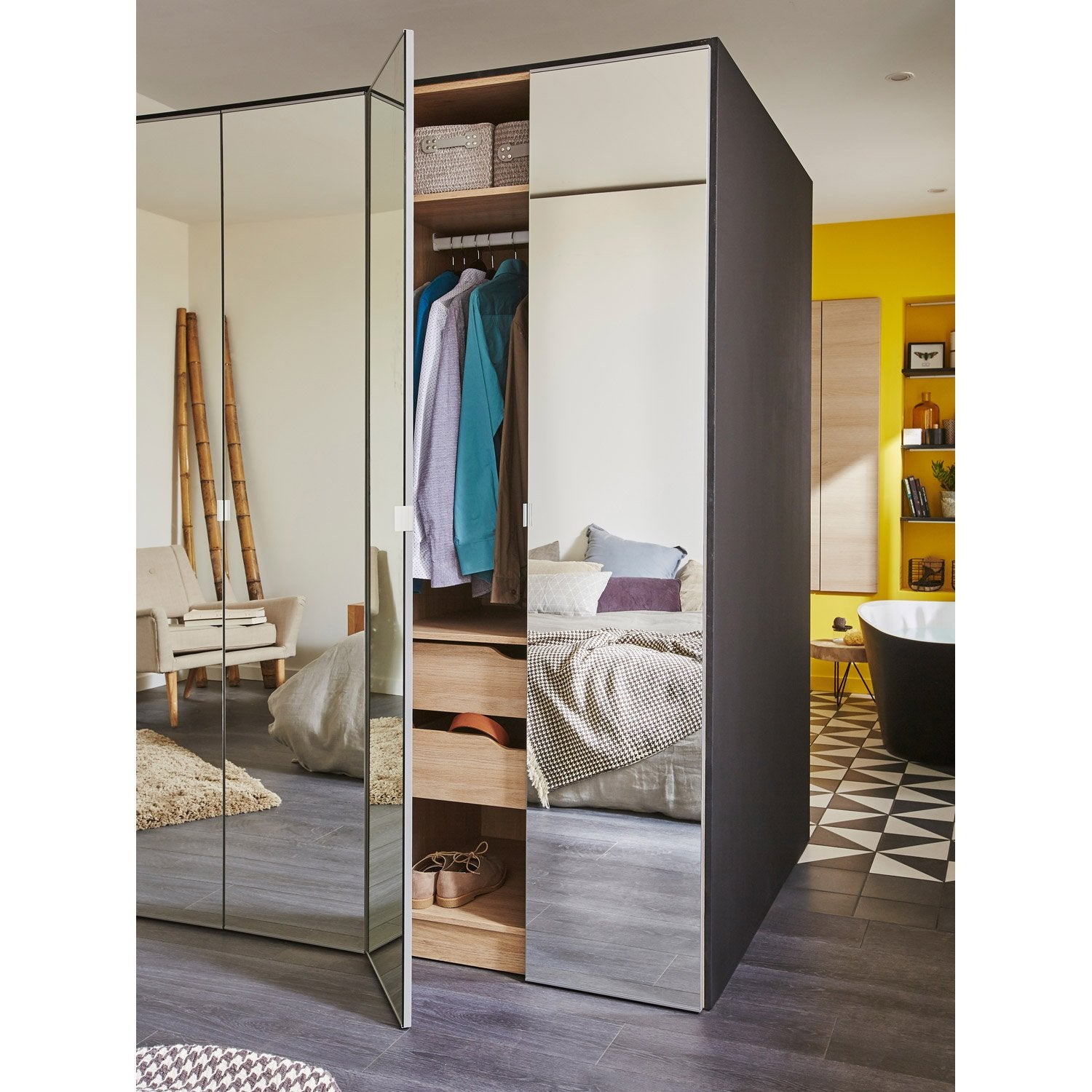 porte battante spaceo home 200 x 40 x 1 6 cm miroir. Black Bedroom Furniture Sets. Home Design Ideas