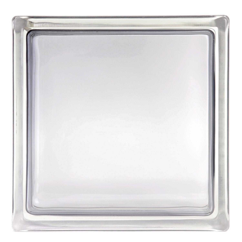 brique de verre gris lisse brillant leroy merlin. Black Bedroom Furniture Sets. Home Design Ideas