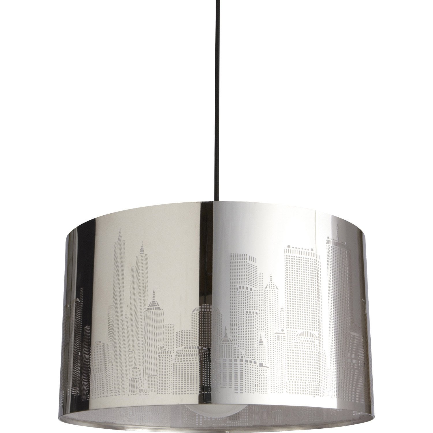 Suspension moderne new york m tal gris 1 x 60 w inspire leroy merlin - Lustre suspension new york ...