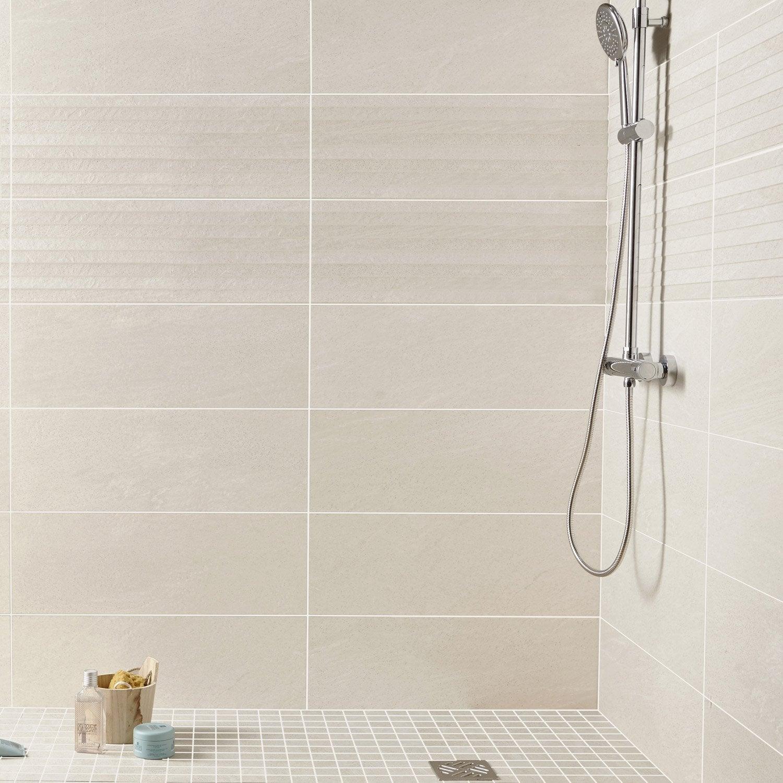 Fa ence mur gris milano x cm leroy merlin for Carrelage jaune salle de bain