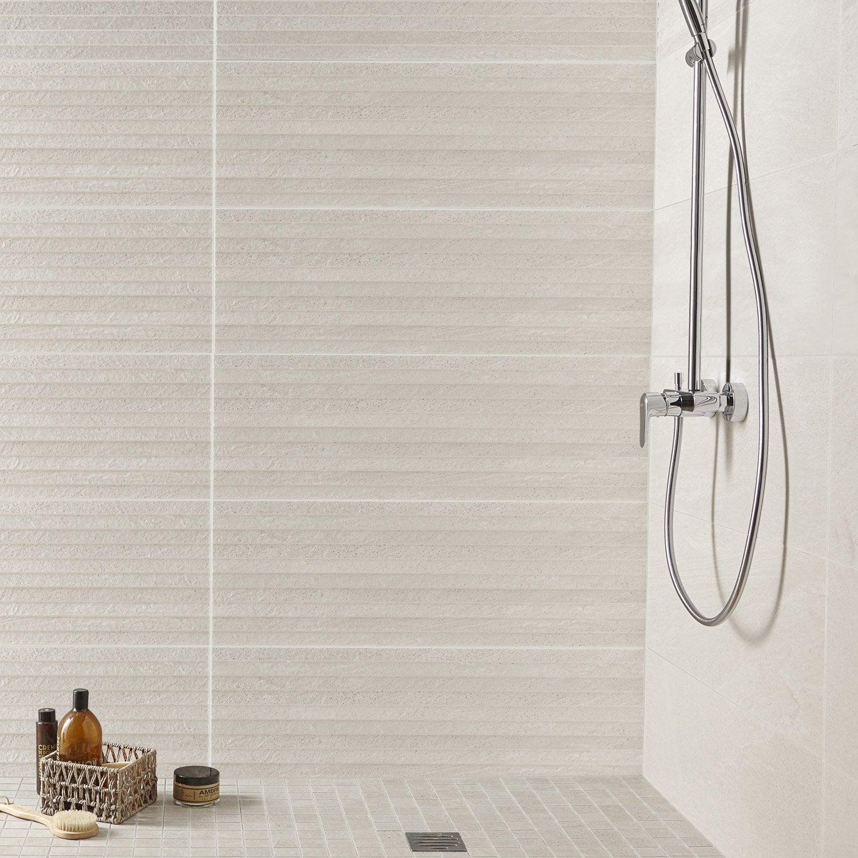 Fa ence mur gris milano x cm leroy merlin - Hauteur faience salle de bain ...