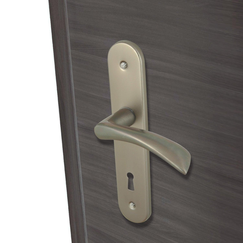 2 poign es de porte azur trou de cl inspire aluminium - Poignee de porte leroy merlin ...