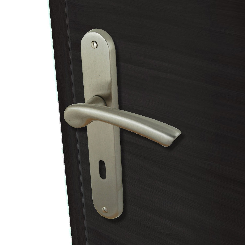 2 poign es de porte oc ane trou de cl inspire laiton 195 mm leroy merlin - Poignee de porte exterieur castorama ...