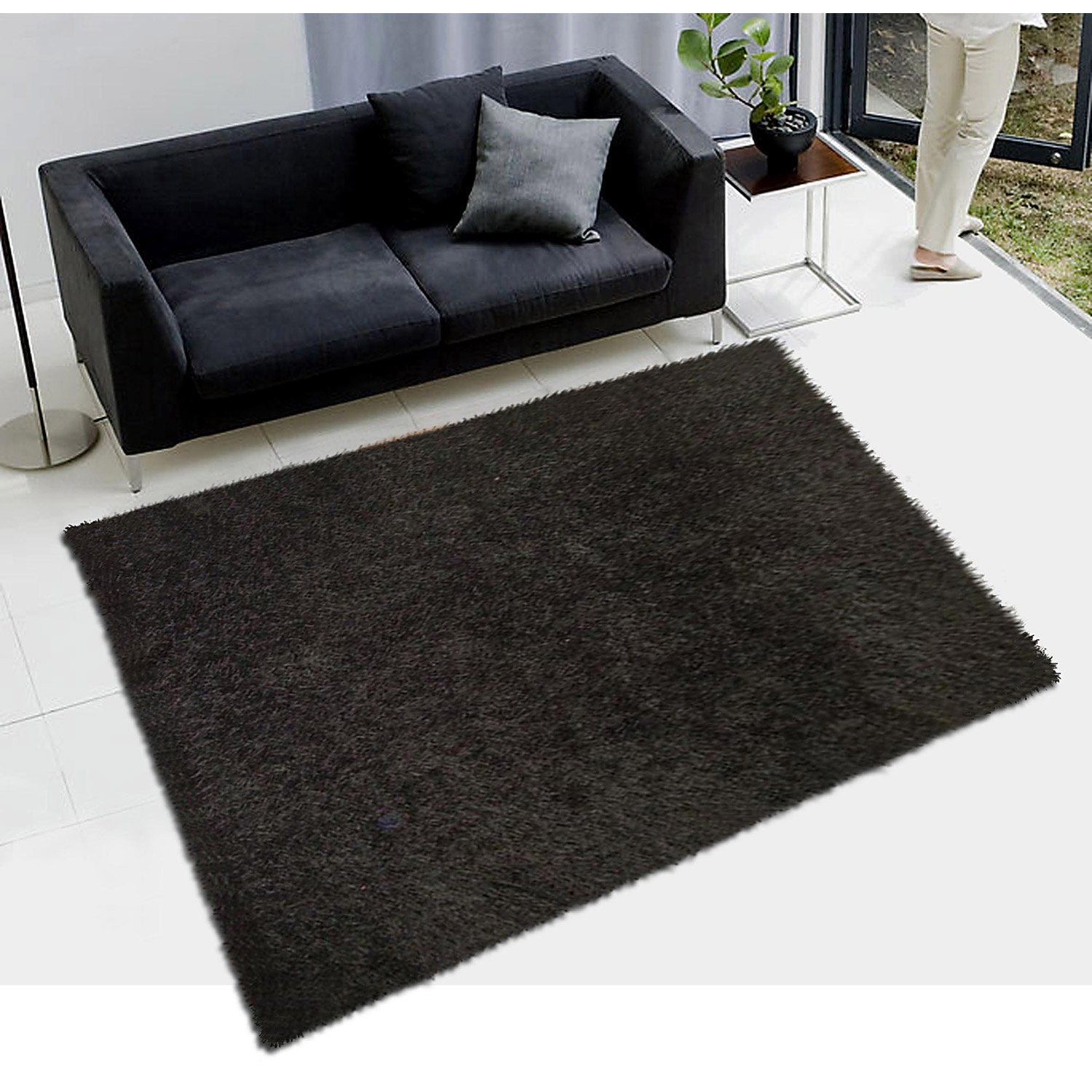tapis noir shaggy lilou x cm leroy merlin. Black Bedroom Furniture Sets. Home Design Ideas