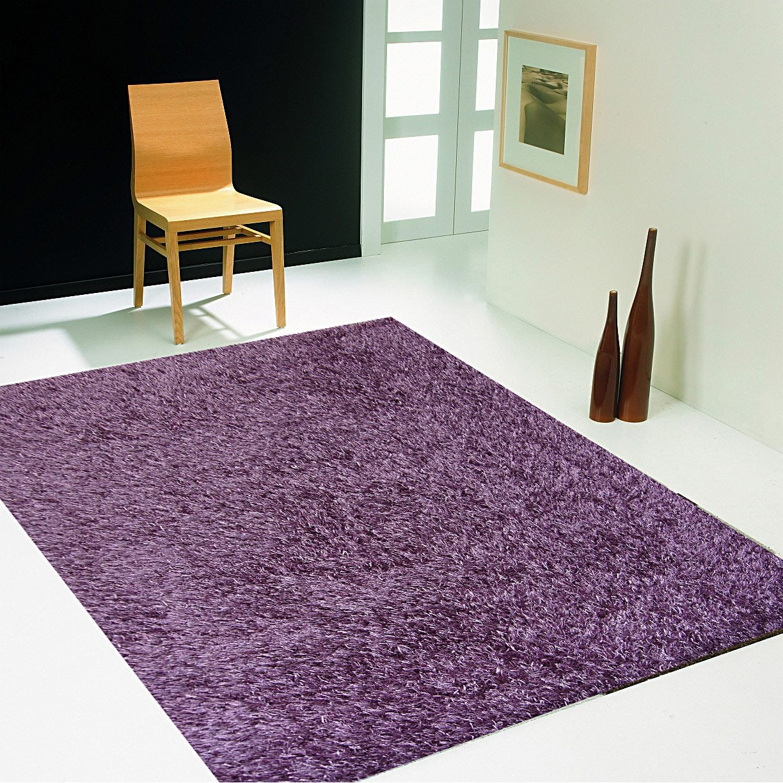 Tapis violet shaggy Lilou l 60 x L 110 cm