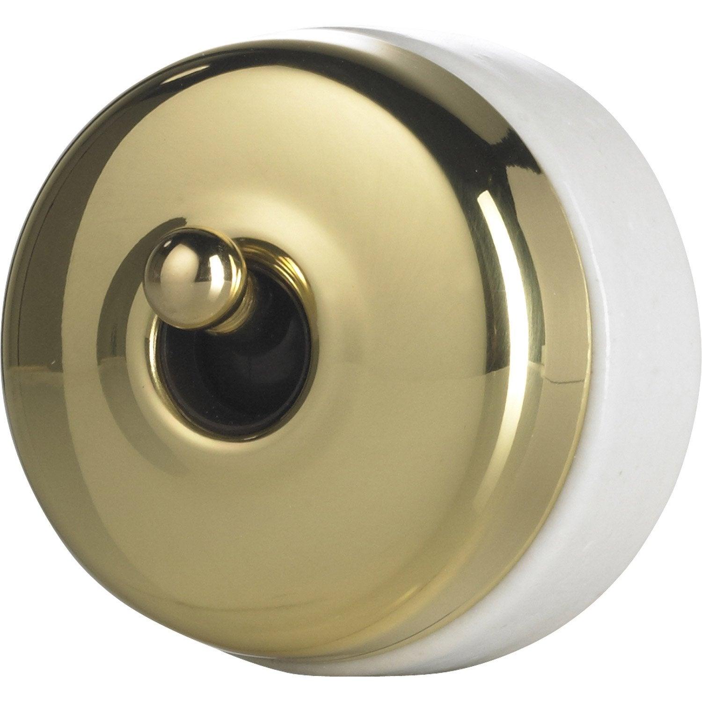 interrupteur va et vient en saillie laiton dor schneider. Black Bedroom Furniture Sets. Home Design Ideas