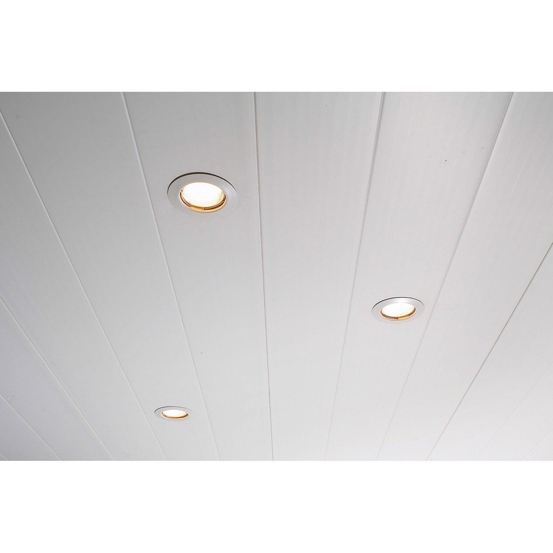 Lambris pvc blanc dumaplast x cm x ep 8 mm for Habiller un plafond