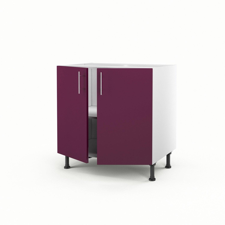 Meuble de cuisine bas violet 2 portes rio x x p for Meuble cuisine violet