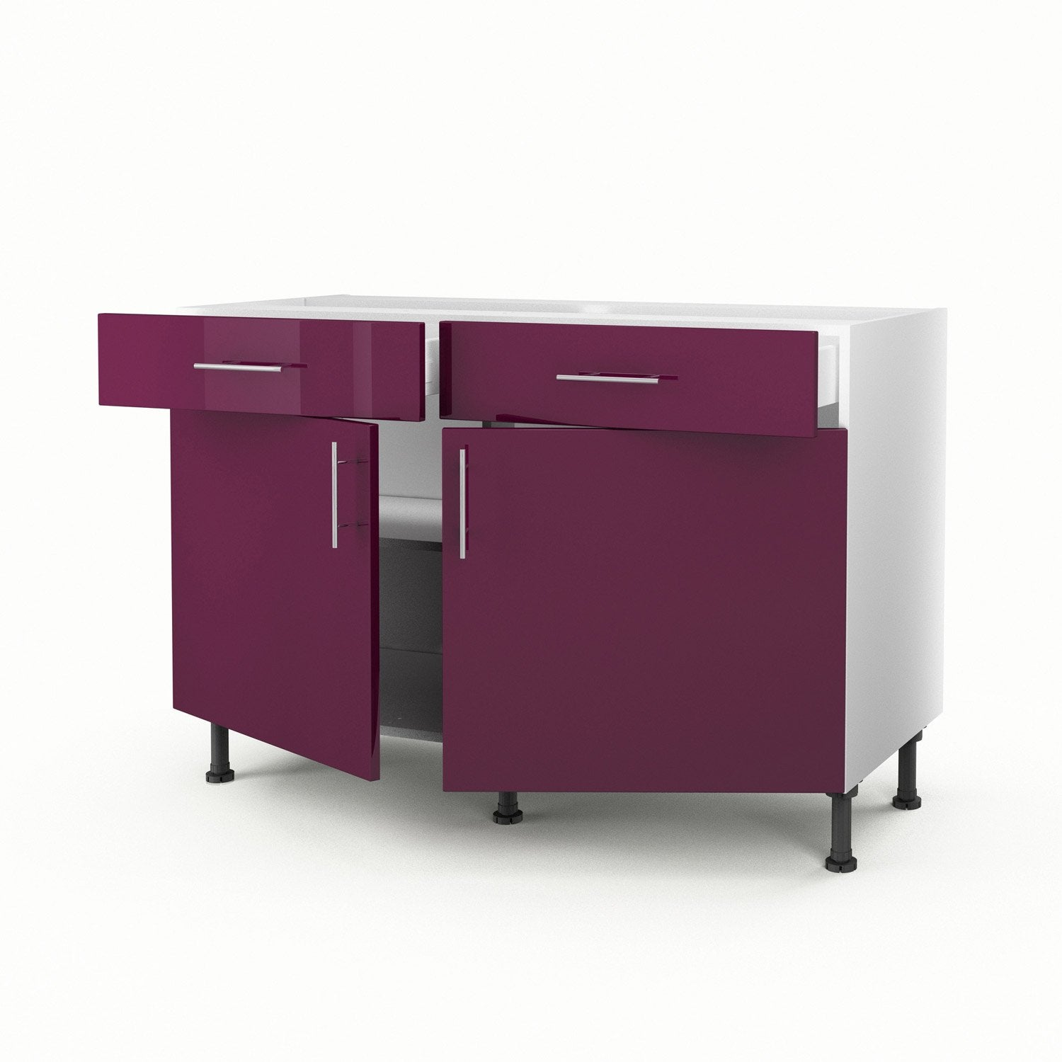 meuble de cuisine bas violet 2 portes 2 tiroirs rio h70xl120xp56 cm leroy merlin. Black Bedroom Furniture Sets. Home Design Ideas