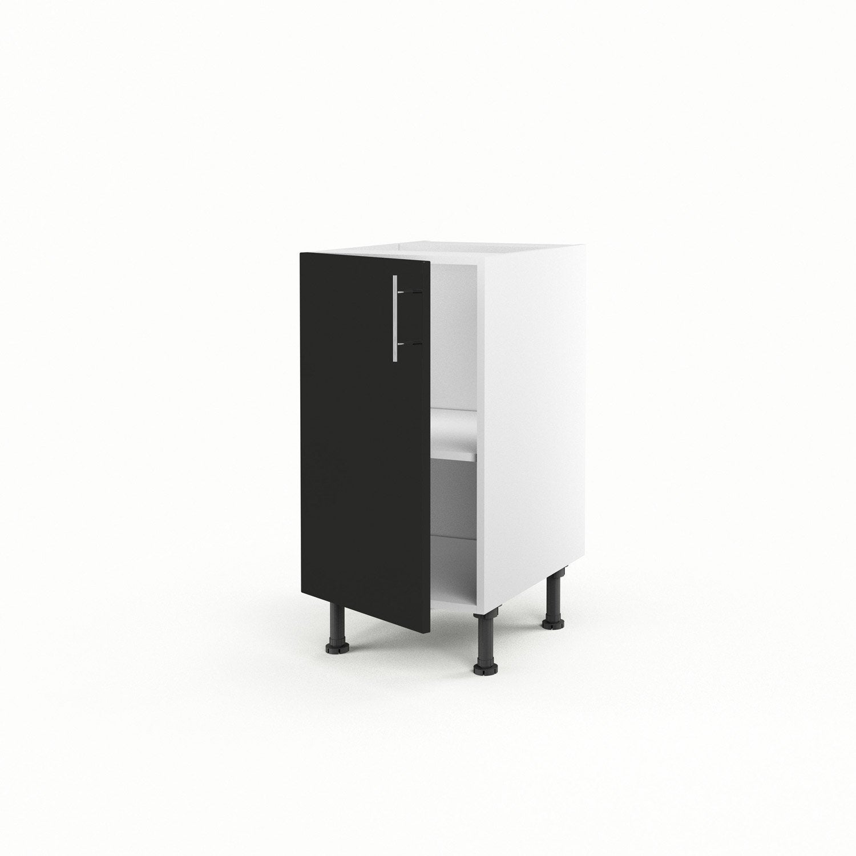 meuble 40 x 40 - meuble de cuisine bas noir 1 porte rio x x