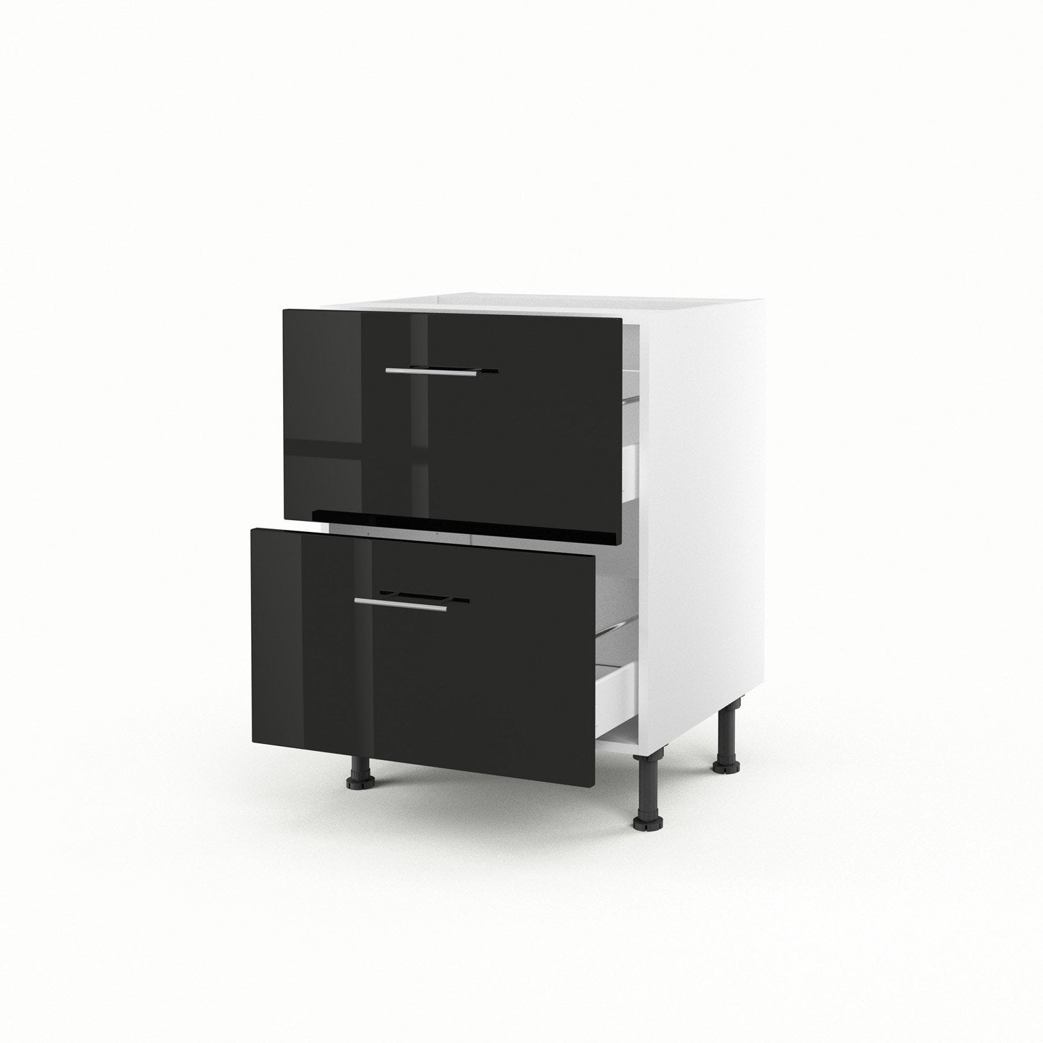 meuble de cuisine bas noir 2 tiroirs rio x x cm leroy merlin. Black Bedroom Furniture Sets. Home Design Ideas