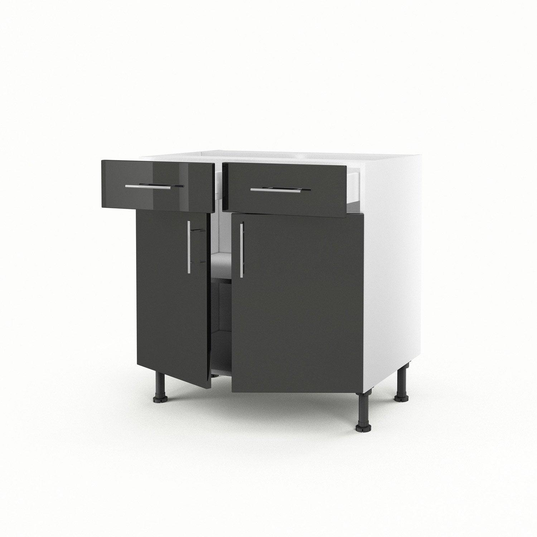 Meuble de cuisine bas gris 2 portes 2 tiroirs rio x for Meuble bureau hauteur 70