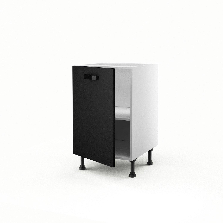 Meuble de cuisine bas noir 1 porte mat edition x for Meuble cuisine 50 x 70
