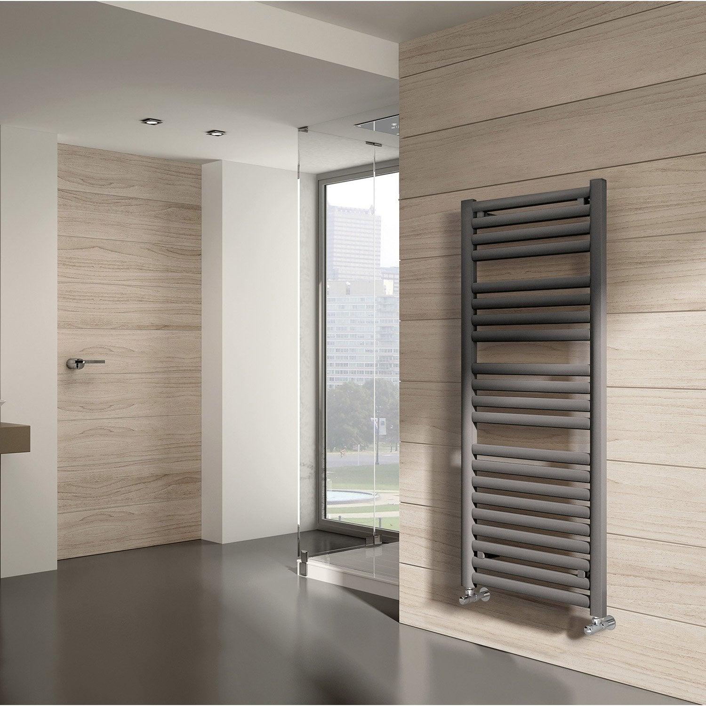 S che serviettes eau chaude acier equation concept gris 424 w leroy merlin - Seche serviette gris ...