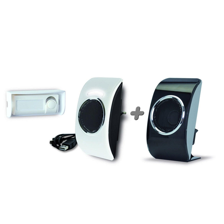 Kit de 2 carillons sans fil enfichable flash extel for Sonnette exterieur