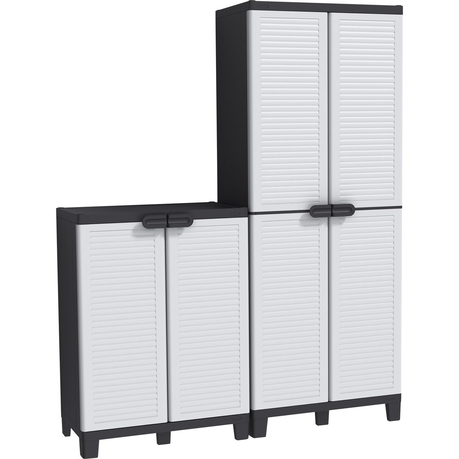 Armoire haute 3 tablettes armoire basse 1 tablette r sine allibert spacewin - Armoire plastique leroy merlin ...