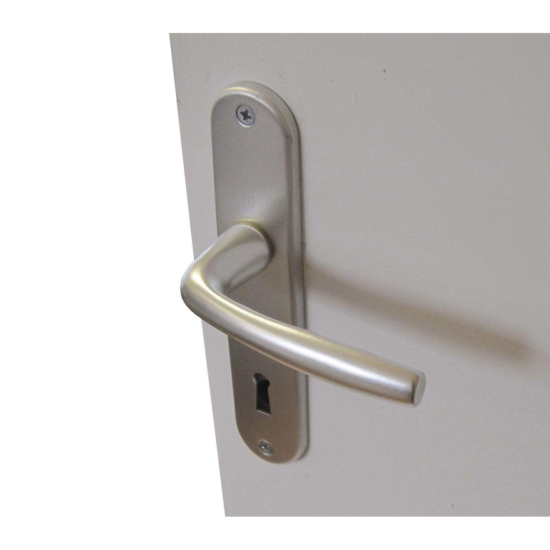 2 poign es de porte roissy trou de cl aluminium 165 mm leroy merlin. Black Bedroom Furniture Sets. Home Design Ideas