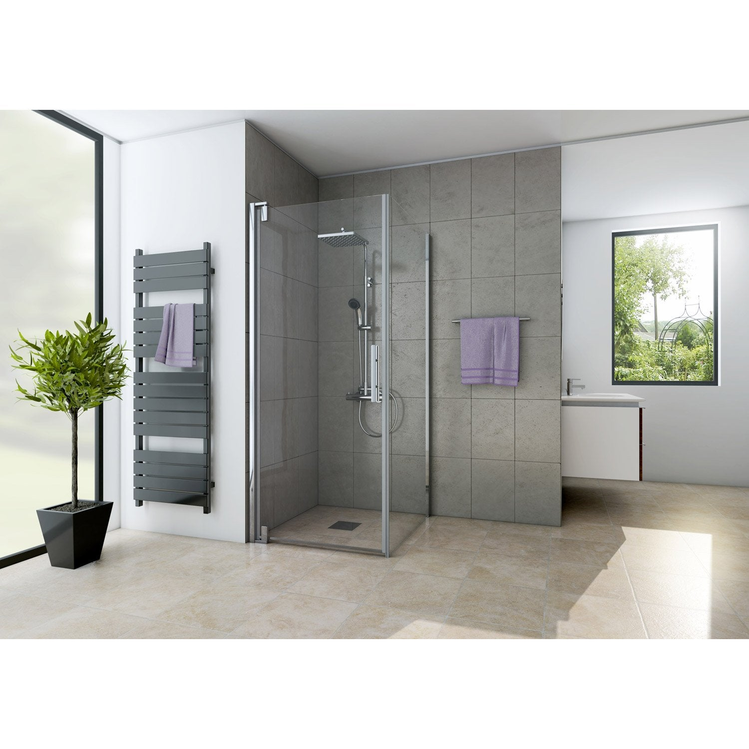 porte de douche pivotante 79 cm transparent adena leroy merlin. Black Bedroom Furniture Sets. Home Design Ideas