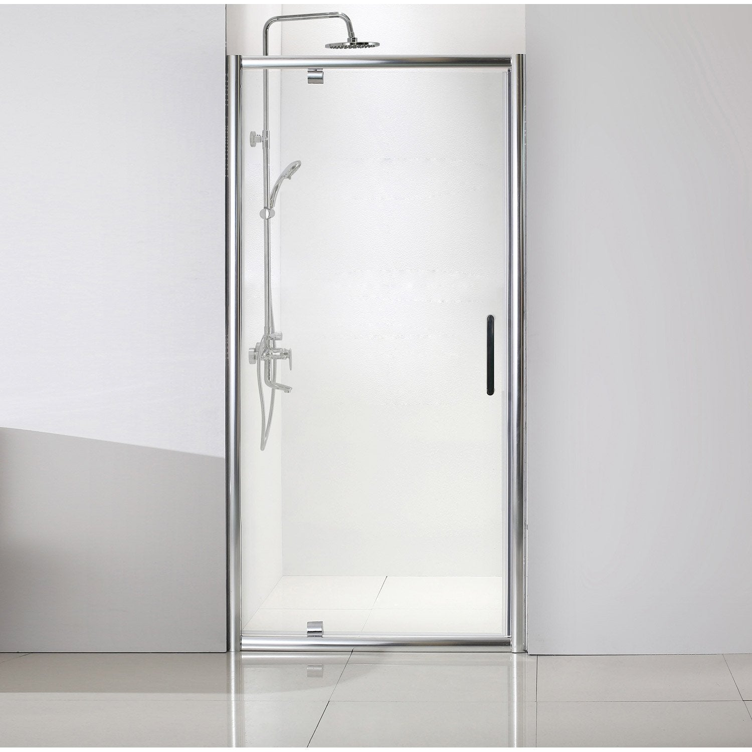 Porte de douche pivotante 100 cm transparent quad for Porte de douche leroy merlin