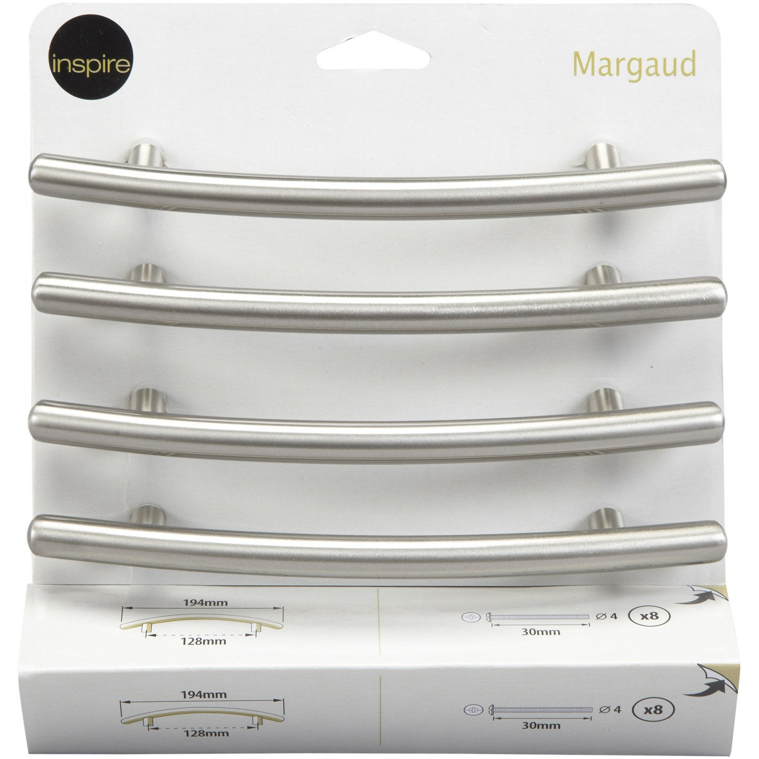 Lot de 4 poign es de meuble margaud acier bross entraxe for Portes elements cuisine leroy merlin