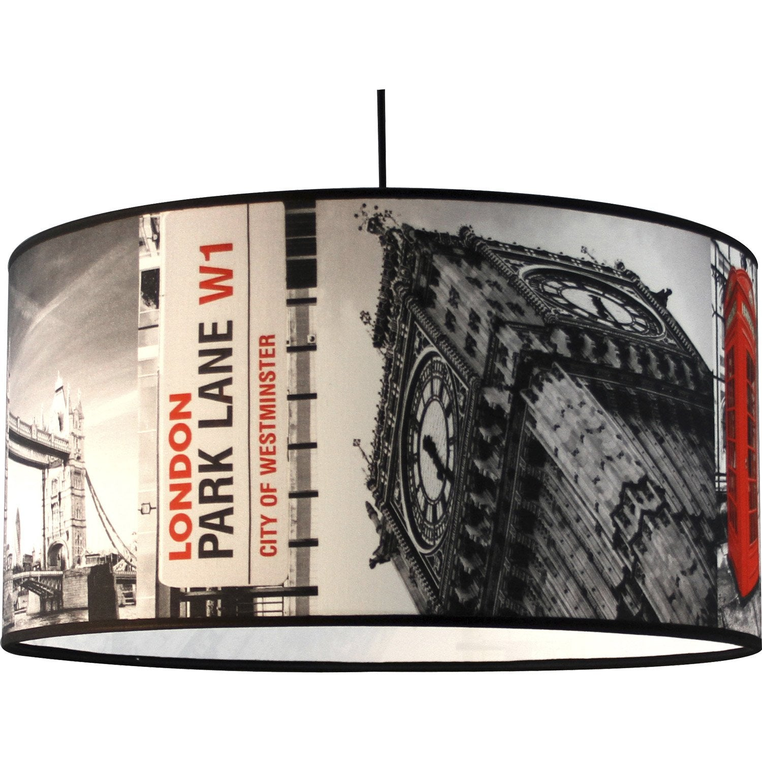 Suspension e27 city londres big ben tissus multicolore 1 x 60 w metropolight - Suspension new york leroy merlin ...